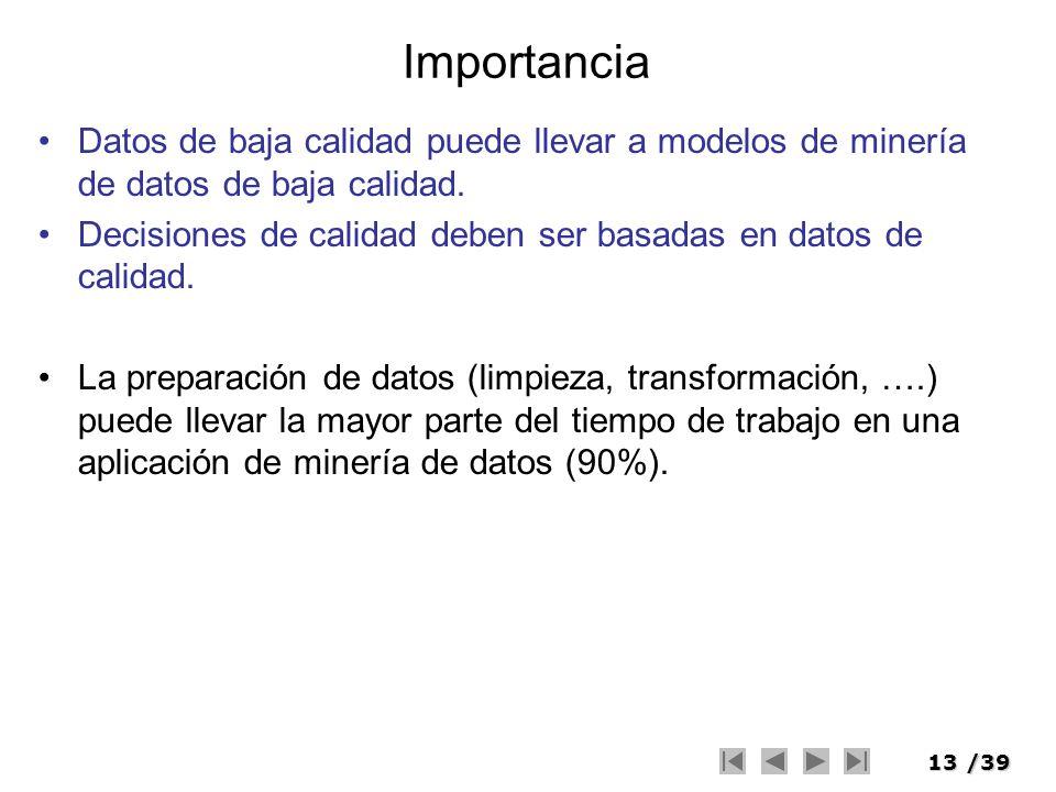 Importancia Datos de baja calidad puede llevar a modelos de minería de datos de baja calidad.