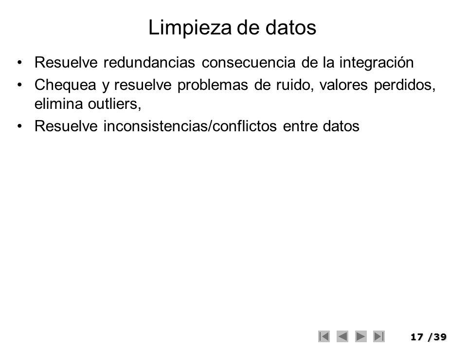Limpieza de datos Resuelve redundancias consecuencia de la integración