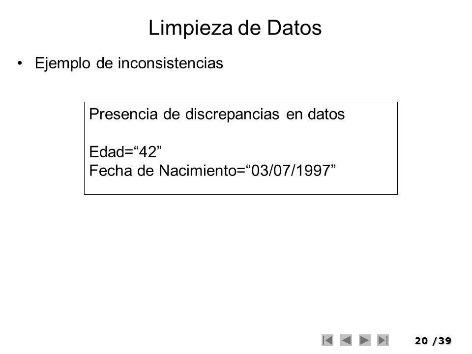 Limpieza de Datos Ejemplo de inconsistencias