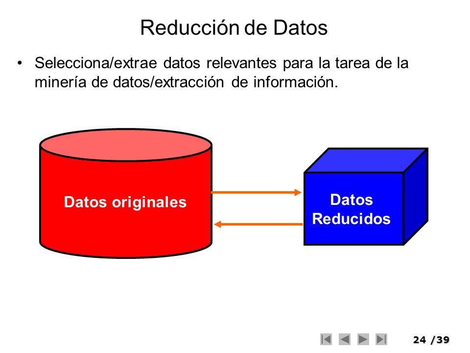 Reducción de Datos Selecciona/extrae datos relevantes para la tarea de la minería de datos/extracción de información.