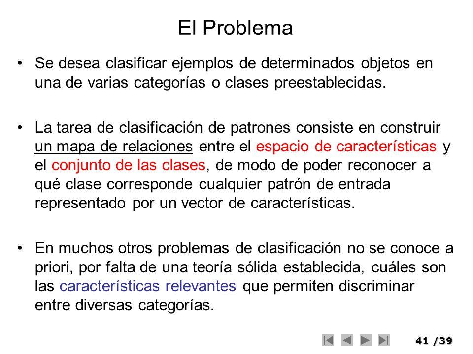 El Problema Se desea clasificar ejemplos de determinados objetos en una de varias categorías o clases preestablecidas.
