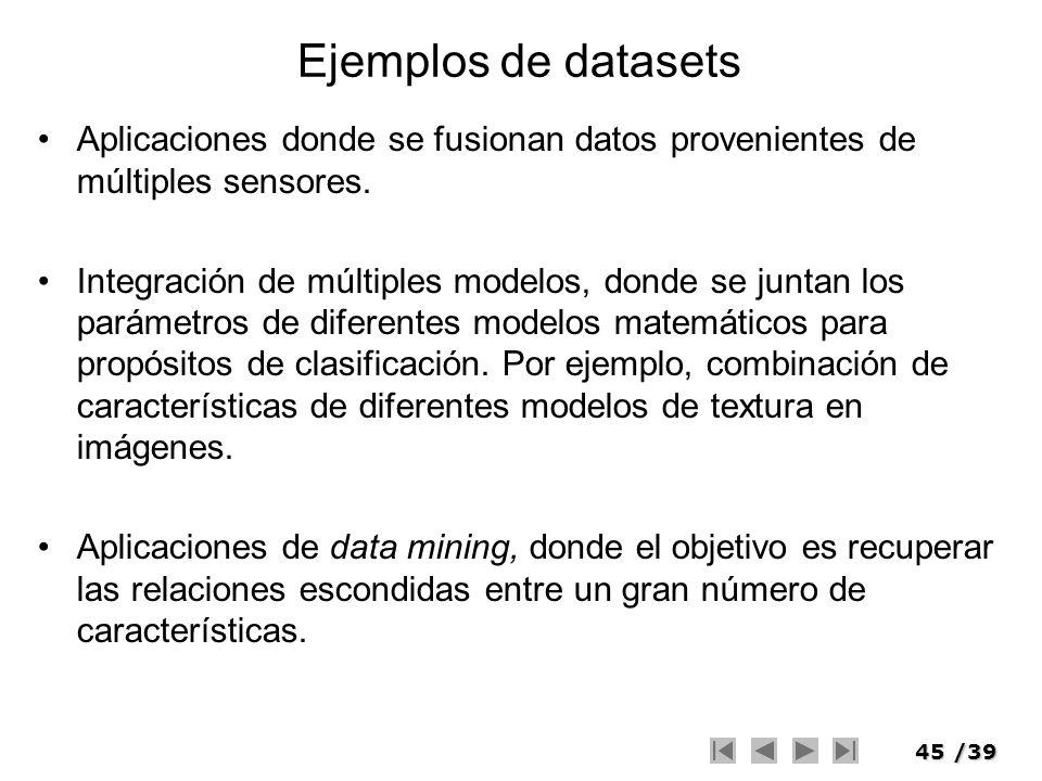 Ejemplos de datasets Aplicaciones donde se fusionan datos provenientes de múltiples sensores.