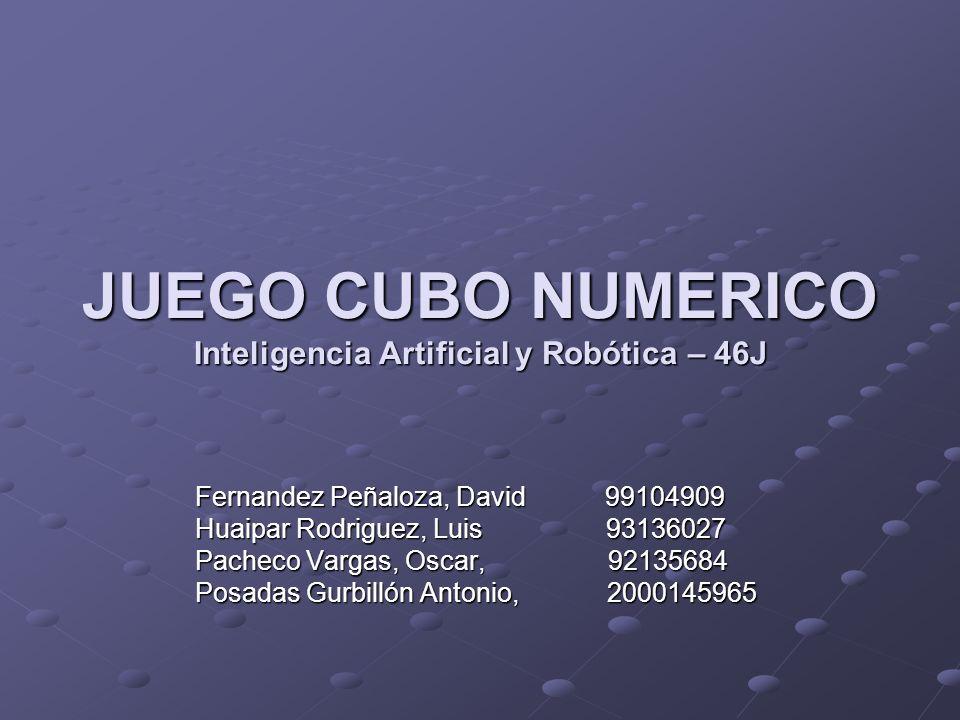 JUEGO CUBO NUMERICO Inteligencia Artificial y Robótica – 46J