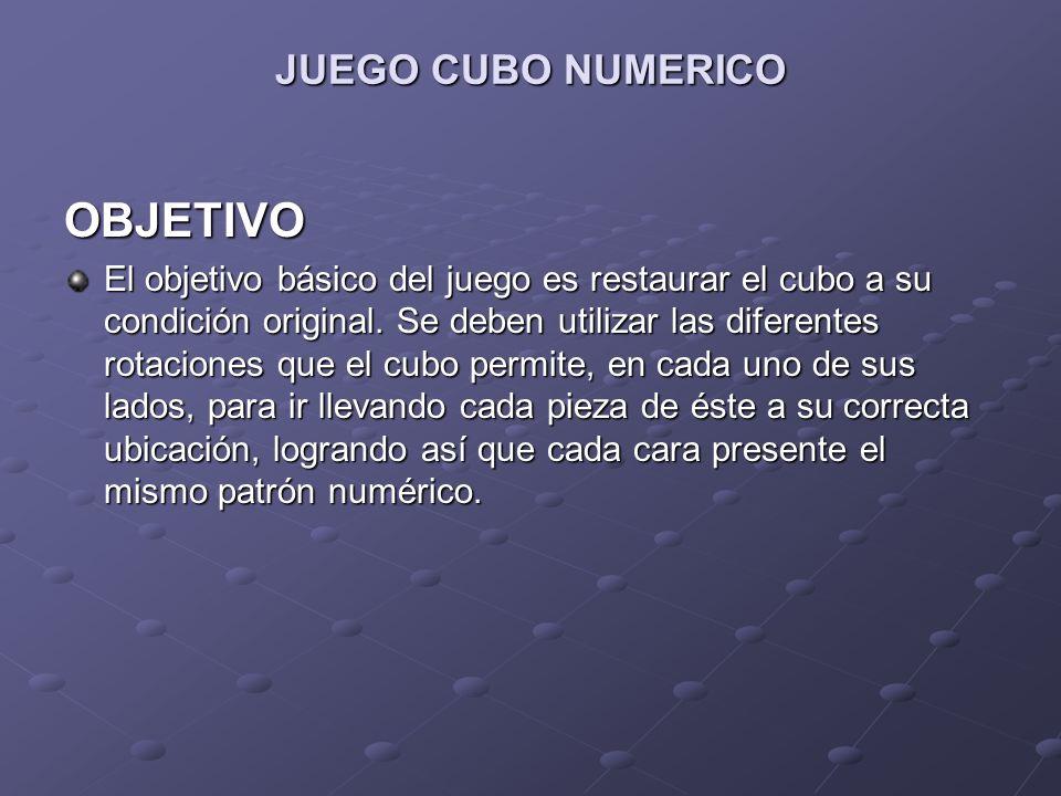OBJETIVO JUEGO CUBO NUMERICO