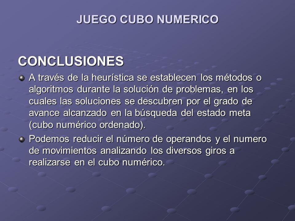 CONCLUSIONES JUEGO CUBO NUMERICO