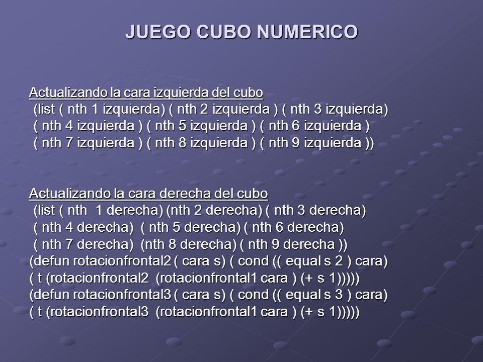JUEGO CUBO NUMERICO Actualizando la cara izquierda del cubo. (list ( nth 1 izquierda) ( nth 2 izquierda ) ( nth 3 izquierda)