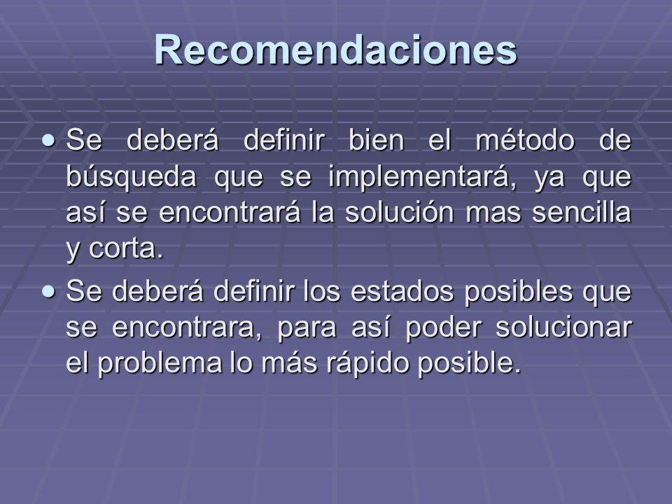 Recomendaciones Se deberá definir bien el método de búsqueda que se implementará, ya que así se encontrará la solución mas sencilla y corta.