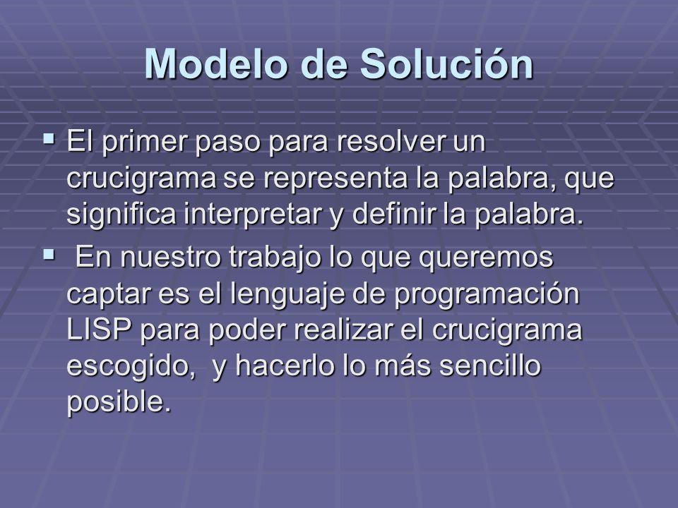 Modelo de Solución El primer paso para resolver un crucigrama se representa la palabra, que significa interpretar y definir la palabra.