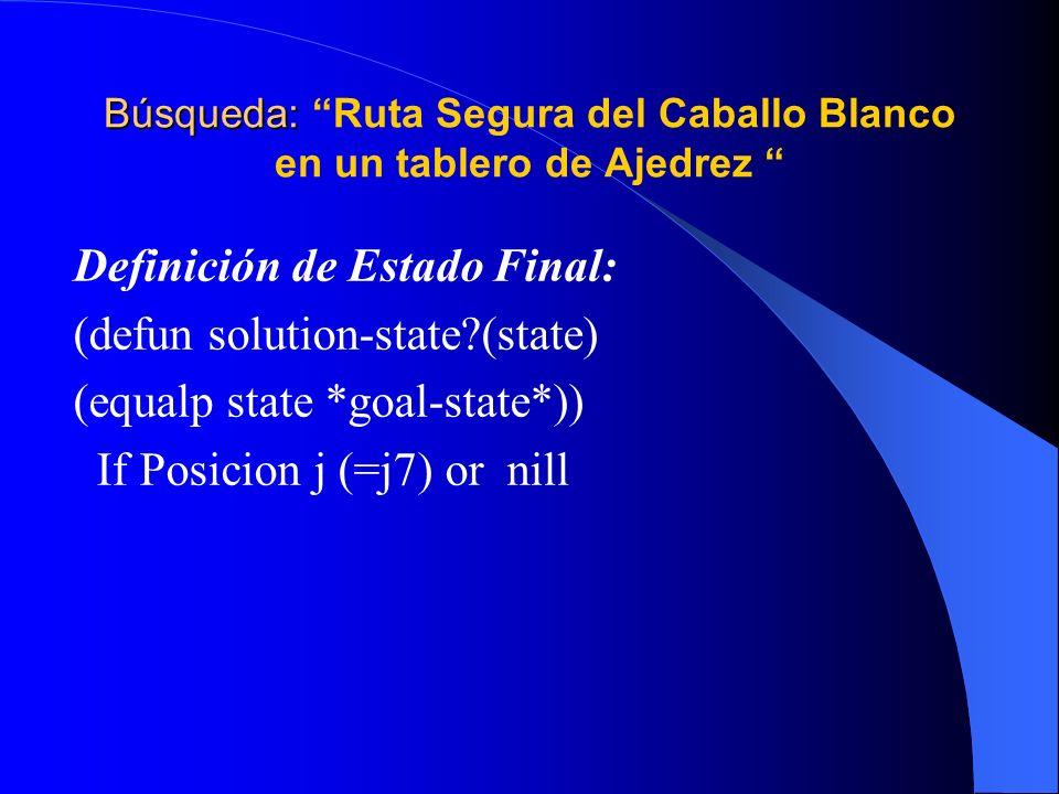 Búsqueda: Ruta Segura del Caballo Blanco en un tablero de Ajedrez