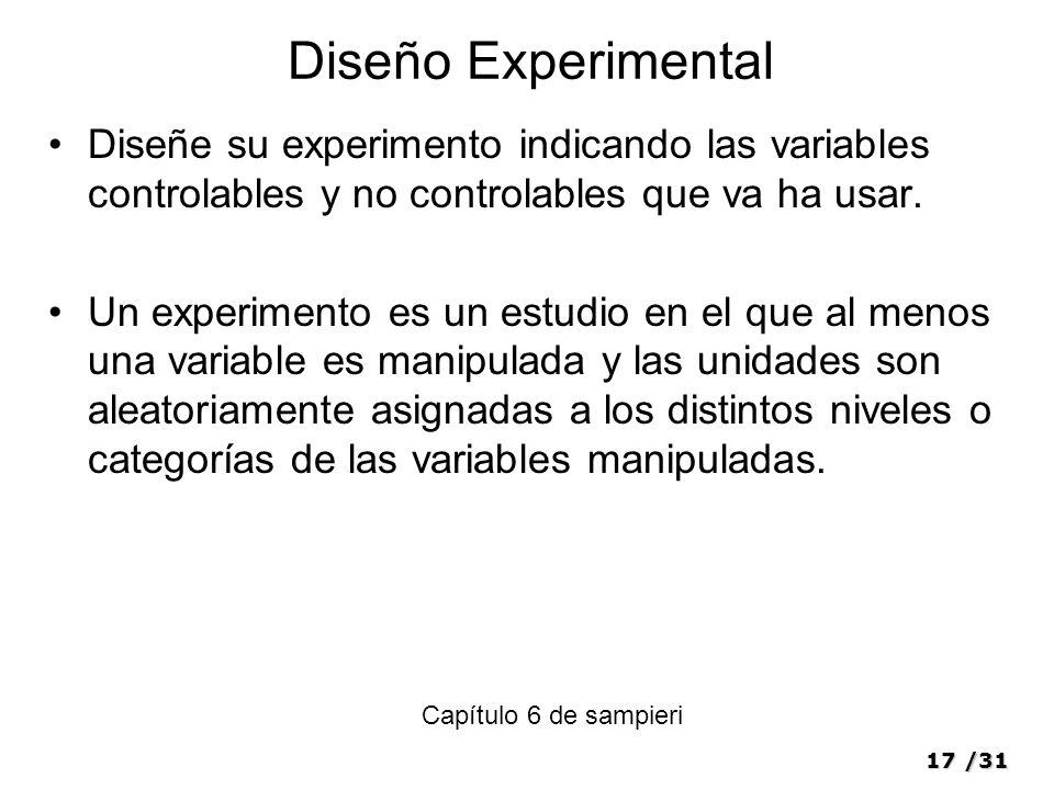 Diseño Experimental Diseñe su experimento indicando las variables controlables y no controlables que va ha usar.