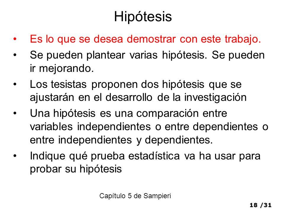 Hipótesis Es lo que se desea demostrar con este trabajo.