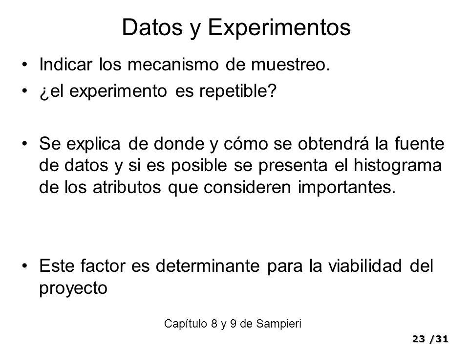 Datos y Experimentos Indicar los mecanismo de muestreo.