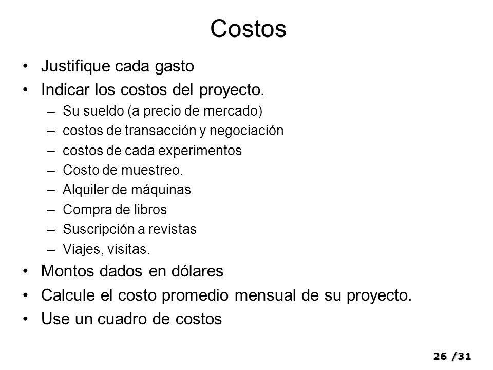Costos Justifique cada gasto Indicar los costos del proyecto.