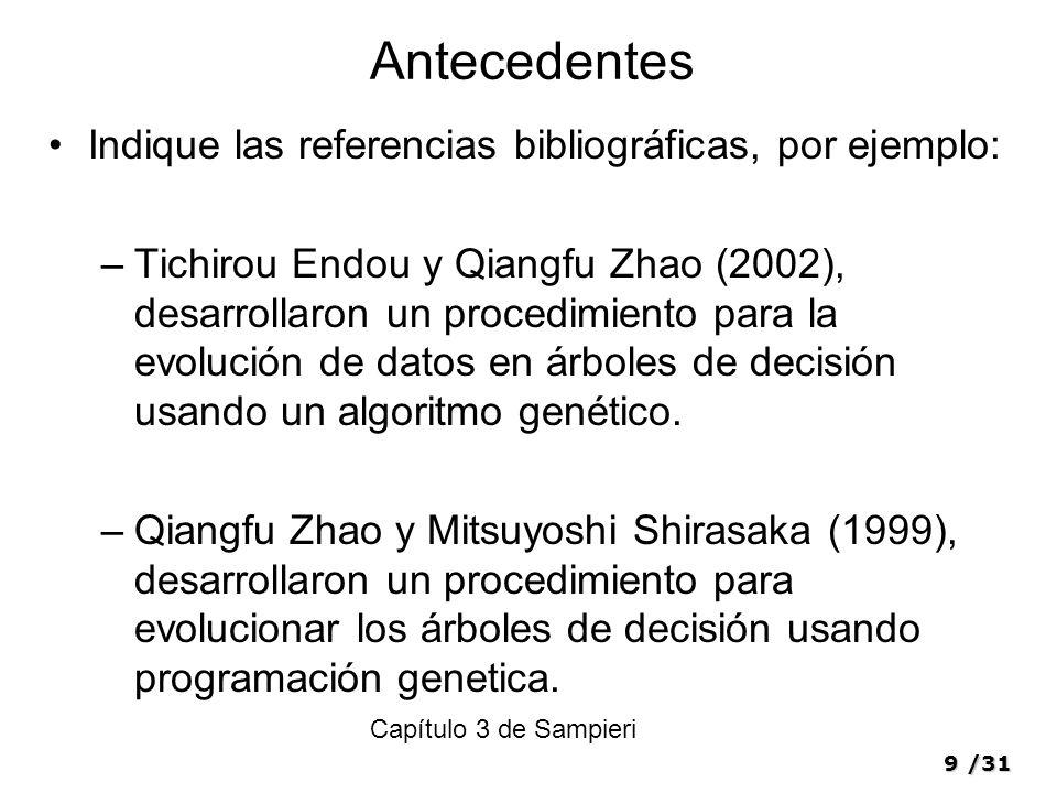 Antecedentes Indique las referencias bibliográficas, por ejemplo: