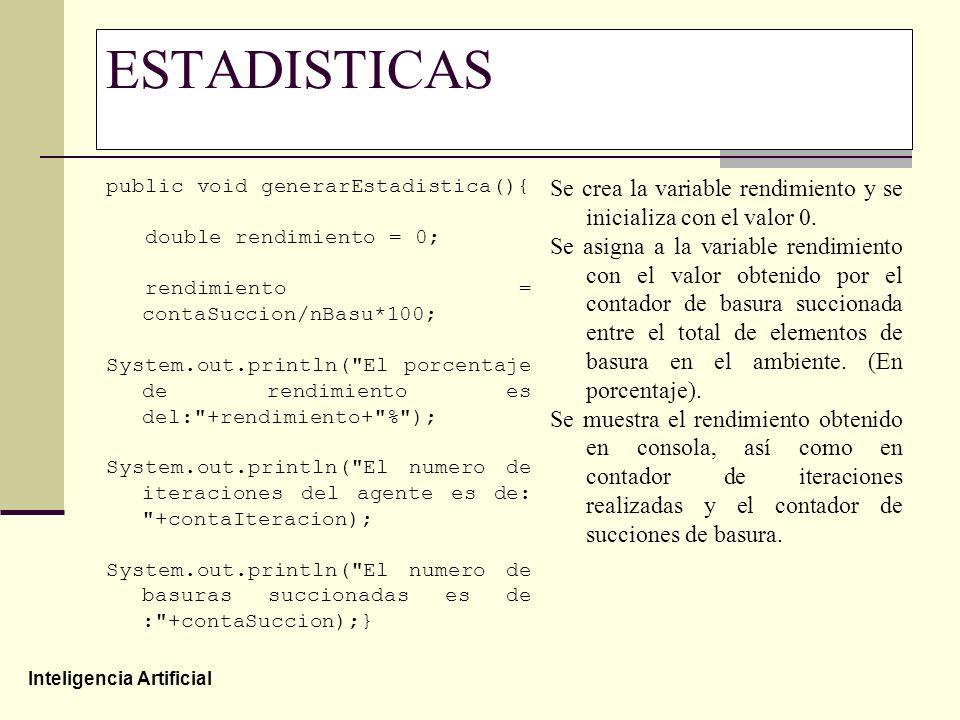 ESTADISTICAS public void generarEstadistica(){ double rendimiento = 0; rendimiento = contaSuccion/nBasu*100;