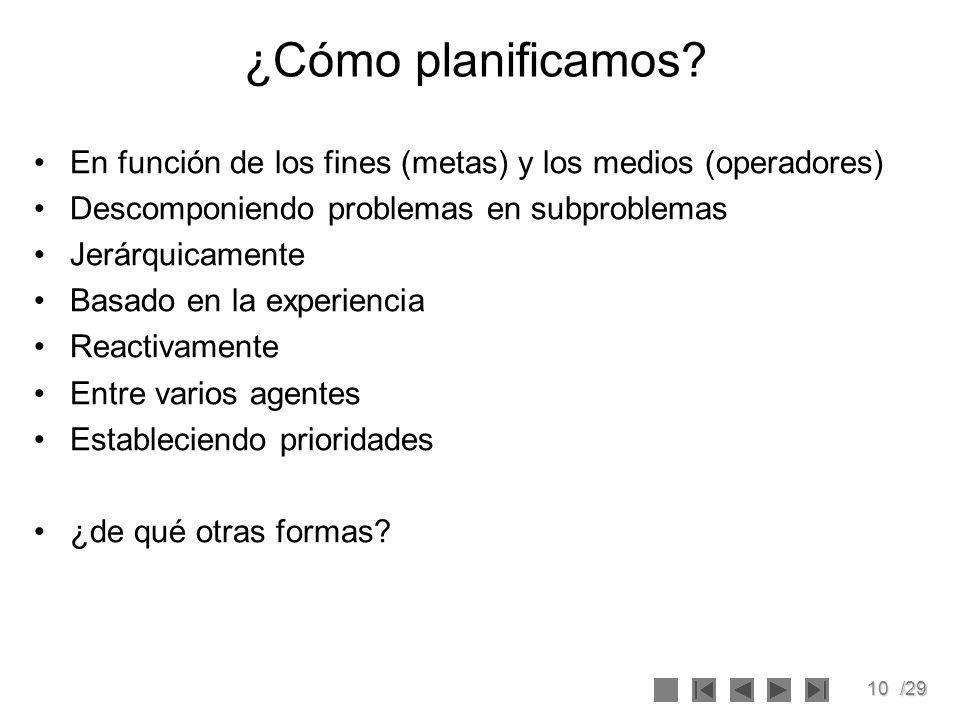 ¿Cómo planificamos En función de los fines (metas) y los medios (operadores) Descomponiendo problemas en subproblemas.