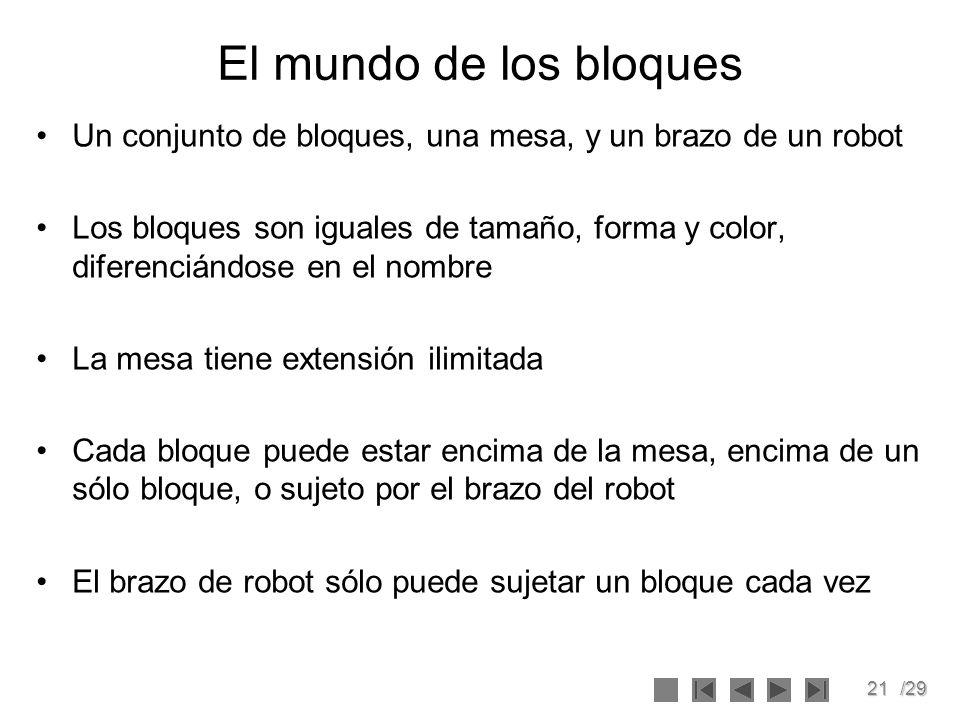 El mundo de los bloques Un conjunto de bloques, una mesa, y un brazo de un robot.
