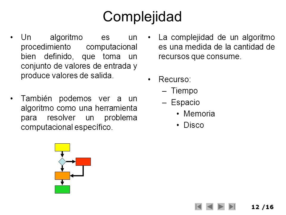 Complejidad Un algoritmo es un procedimiento computacional bien definido, que toma un conjunto de valores de entrada y produce valores de salida.