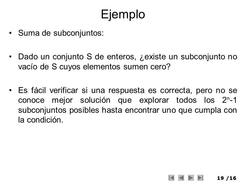 Ejemplo Suma de subconjuntos: