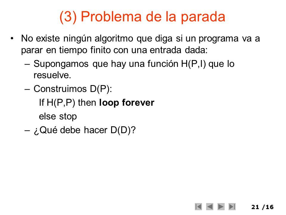 (3) Problema de la parada