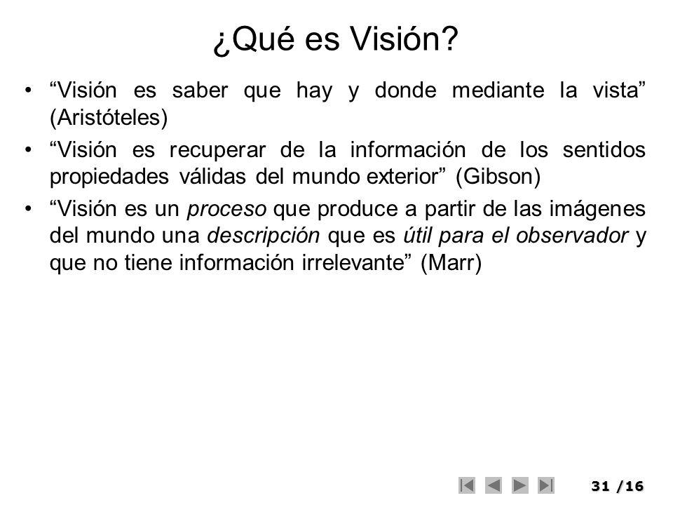 ¿Qué es Visión Visión es saber que hay y donde mediante la vista (Aristóteles)