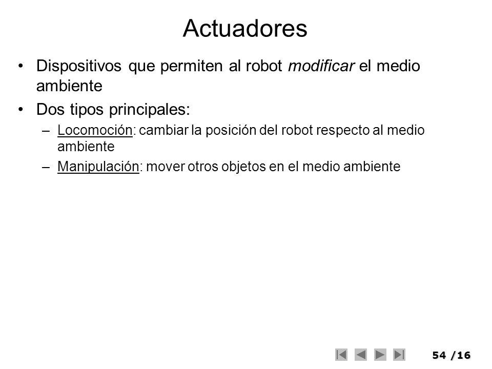Actuadores Dispositivos que permiten al robot modificar el medio ambiente. Dos tipos principales: