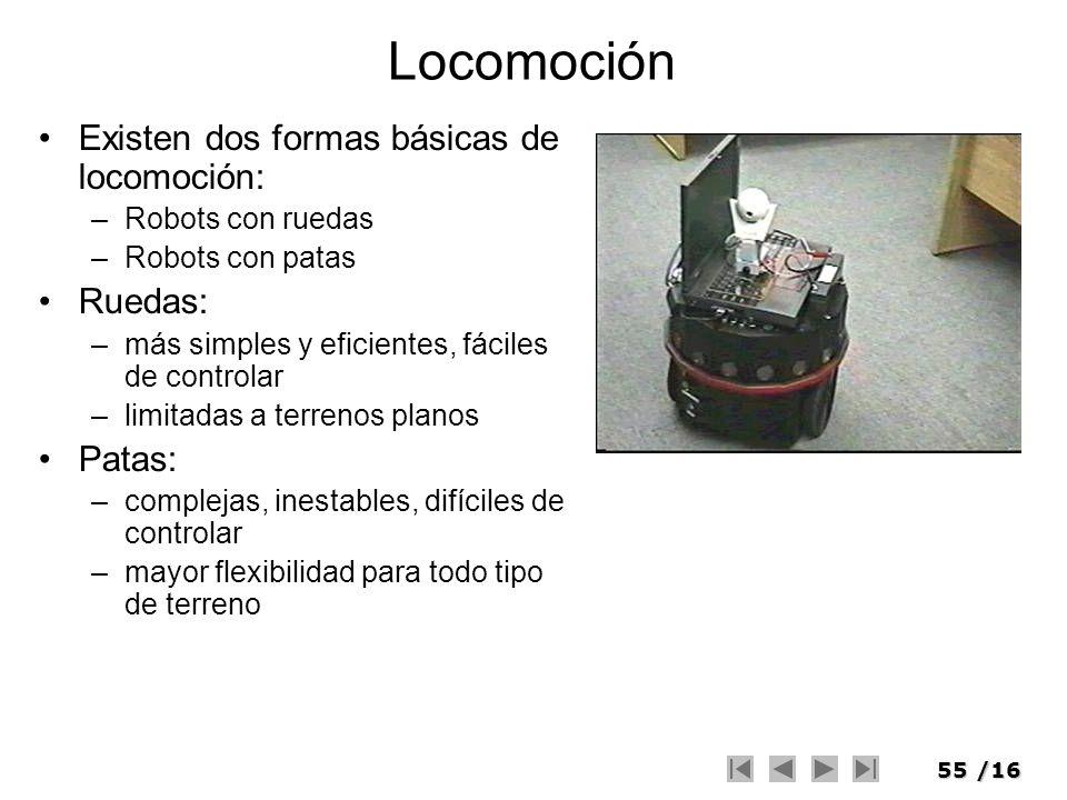 Locomoción Existen dos formas básicas de locomoción: Ruedas: Patas: