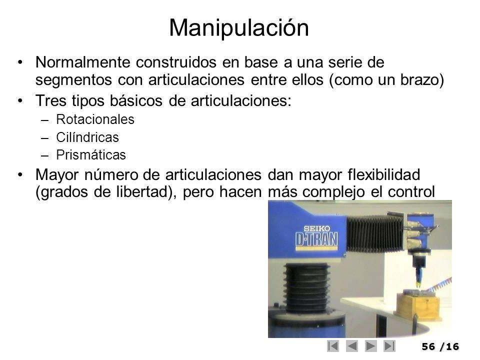 Manipulación Normalmente construidos en base a una serie de segmentos con articulaciones entre ellos (como un brazo)