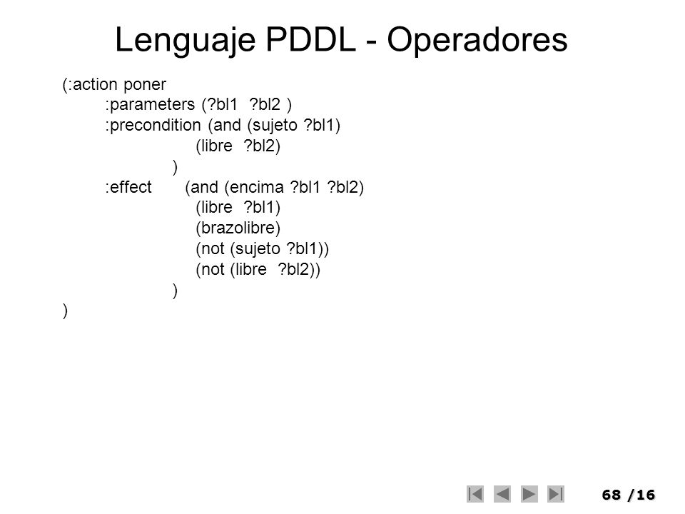 Lenguaje PDDL - Operadores