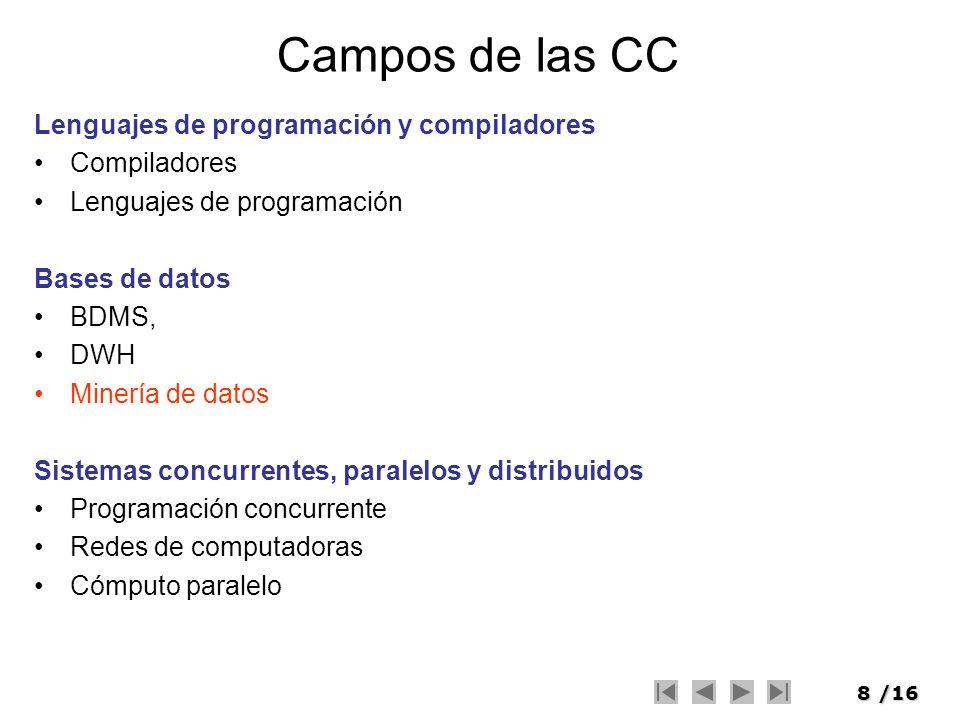 Campos de las CC Lenguajes de programación y compiladores Compiladores