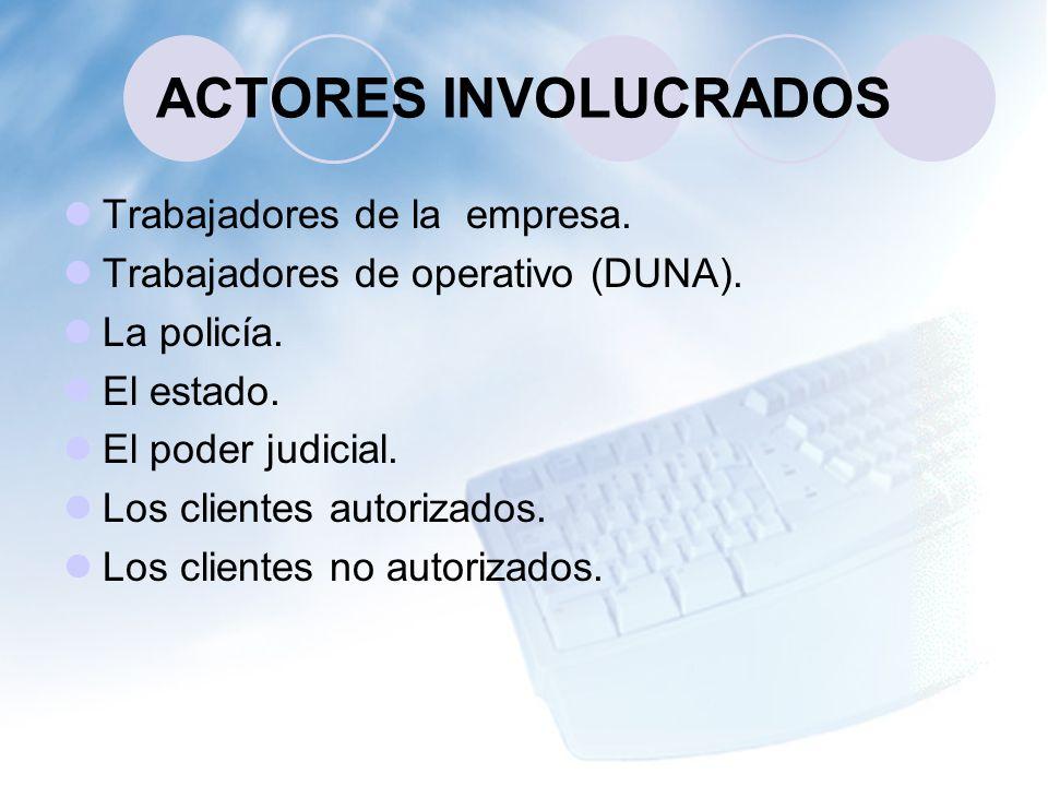 ACTORES INVOLUCRADOS Trabajadores de la empresa.