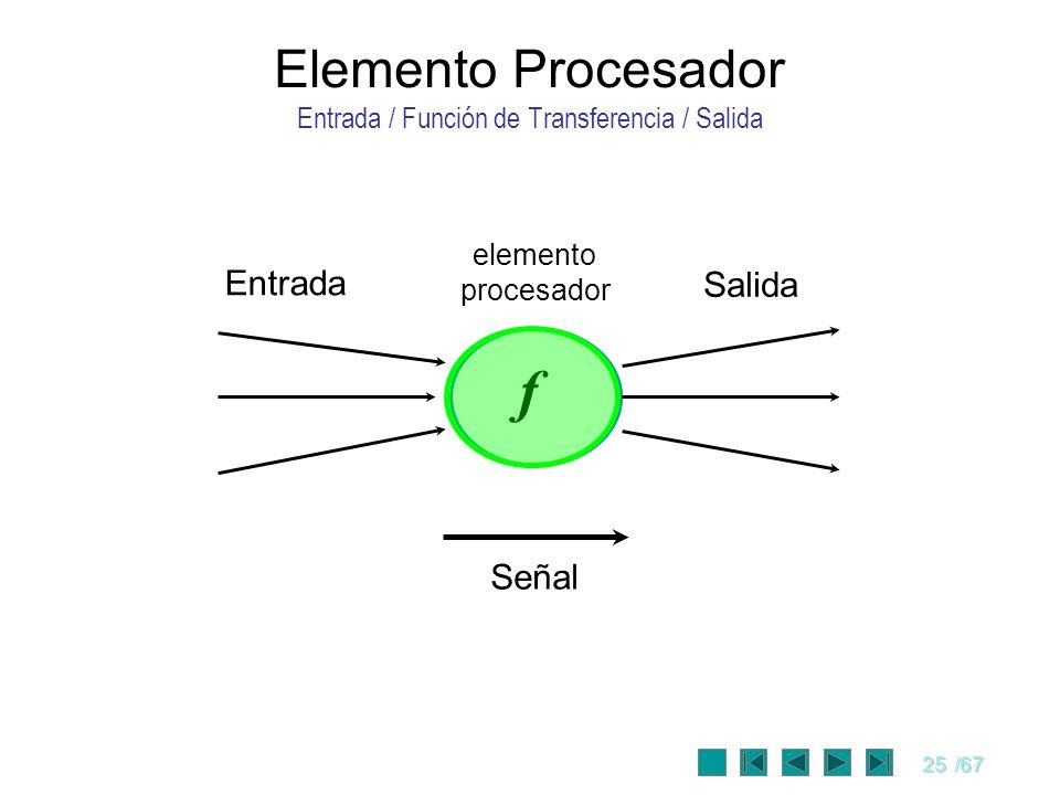 Elemento Procesador Entrada / Función de Transferencia / Salida