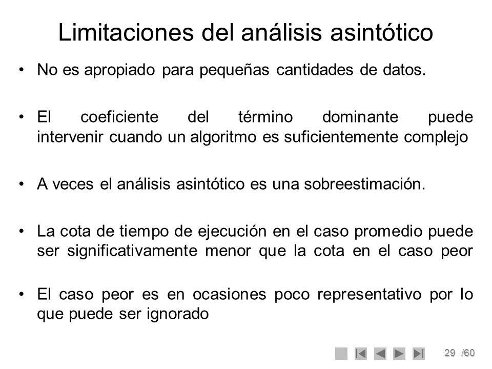 Limitaciones del análisis asintótico