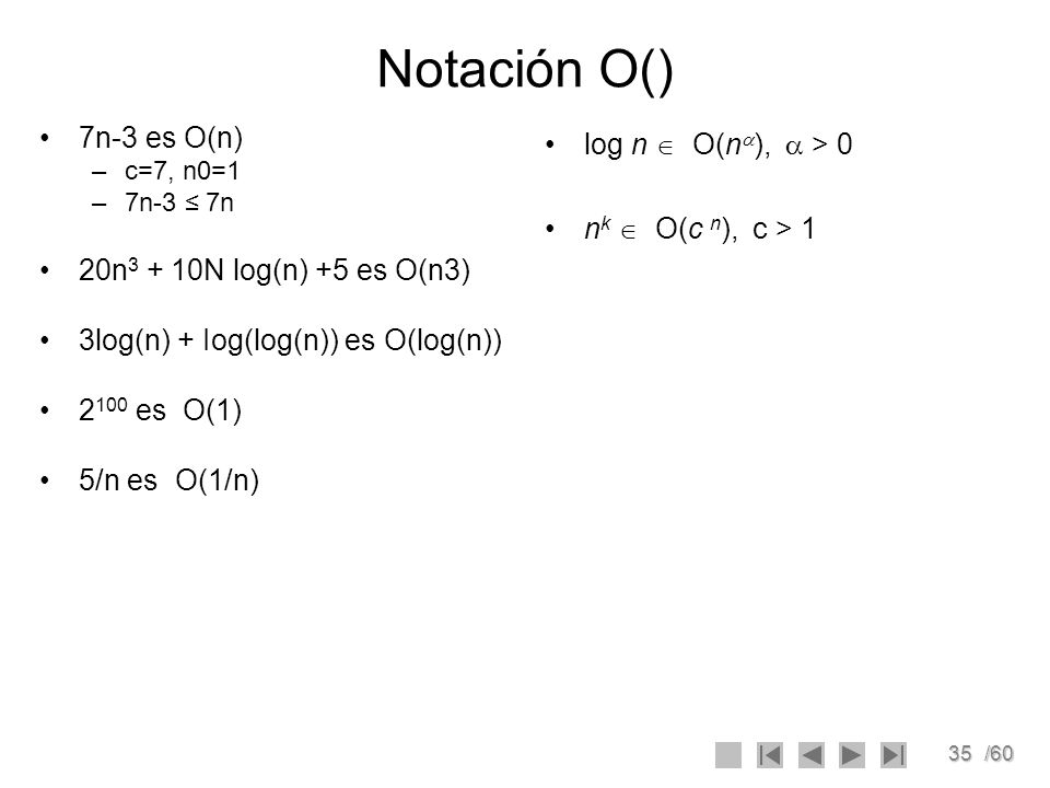Notación O() 7n-3 es O(n) 20n3 + 10N log(n) +5 es O(n3)