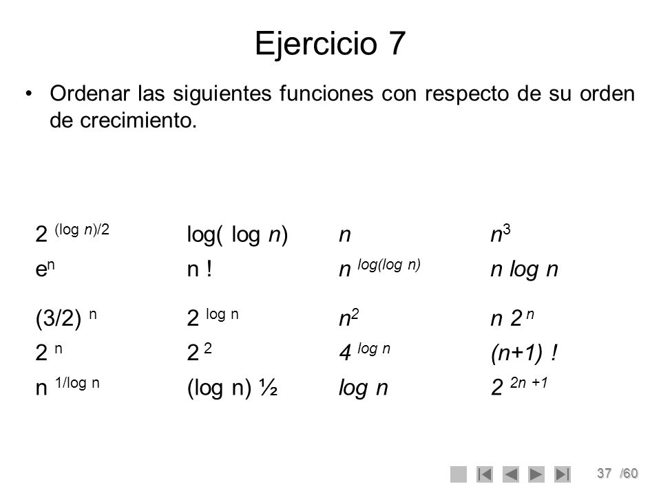 Ejercicio 7 2 (log n)/2 log( log n) n n3 en n ! n log(log n) n log n