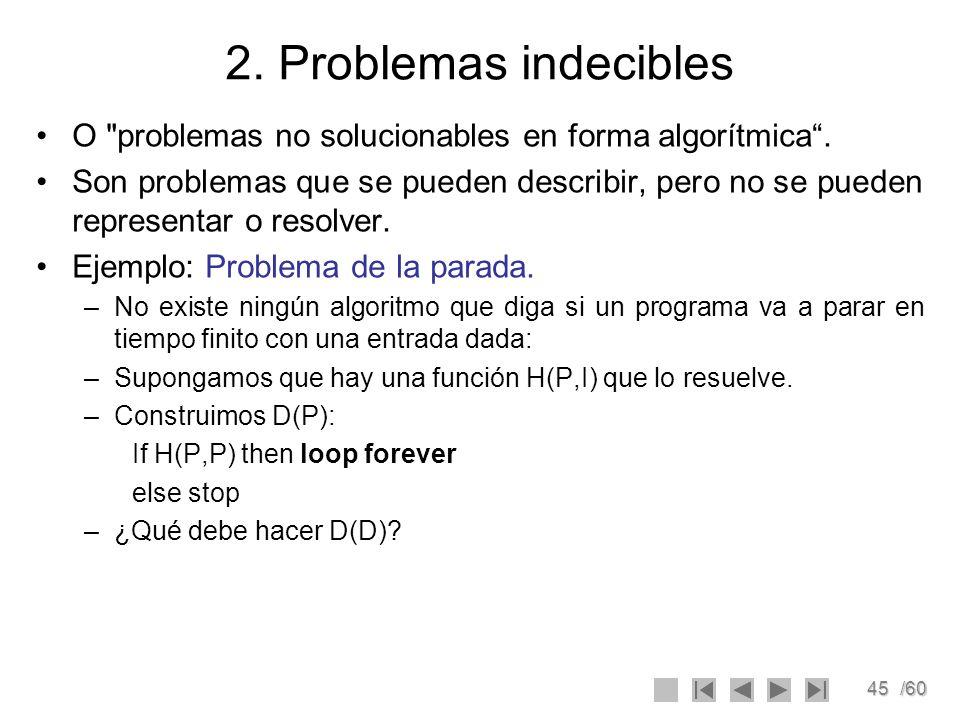 2. Problemas indecibles O problemas no solucionables en forma algorítmica .