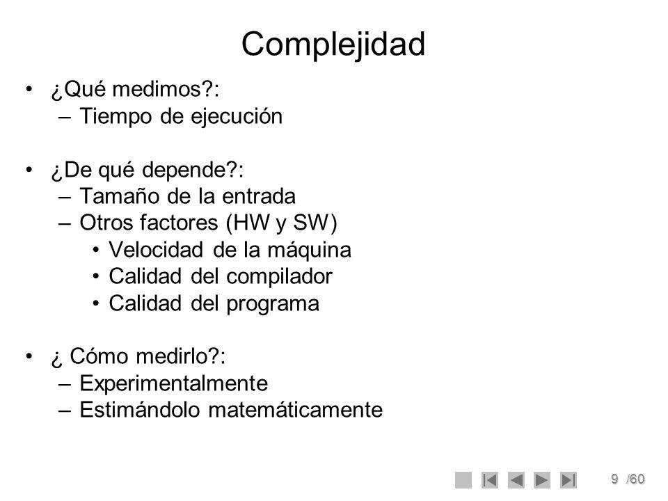 Complejidad ¿Qué medimos : Tiempo de ejecución ¿De qué depende :