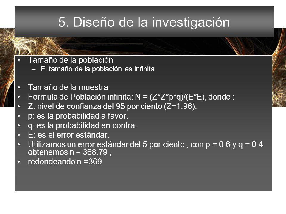 5. Diseño de la investigación
