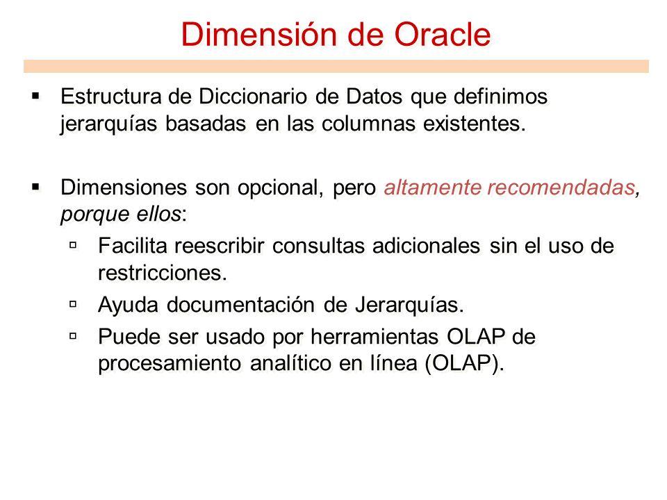 Dimensión de Oracle Estructura de Diccionario de Datos que definimos jerarquías basadas en las columnas existentes.