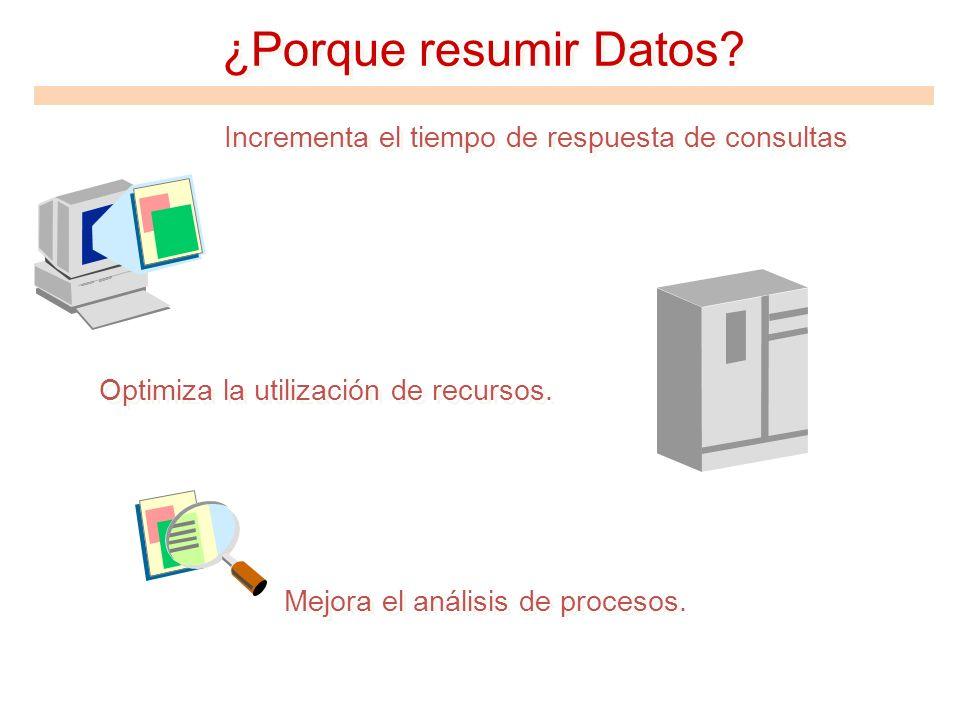 ¿Porque resumir Datos Optimiza la utilización de recursos.