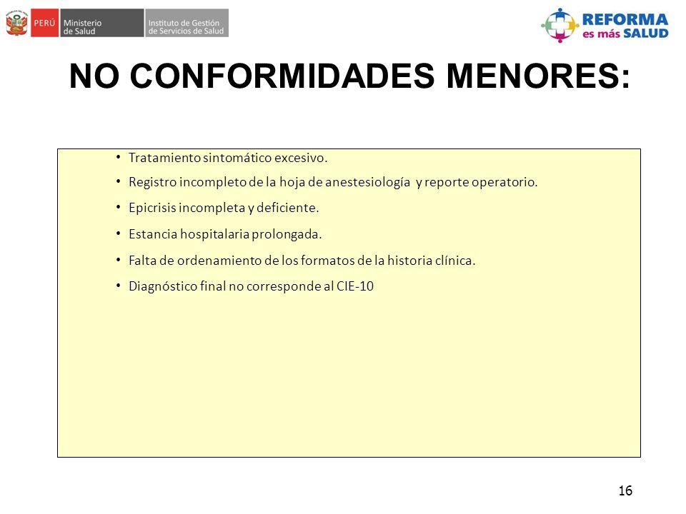 NO CONFORMIDADES MENORES: