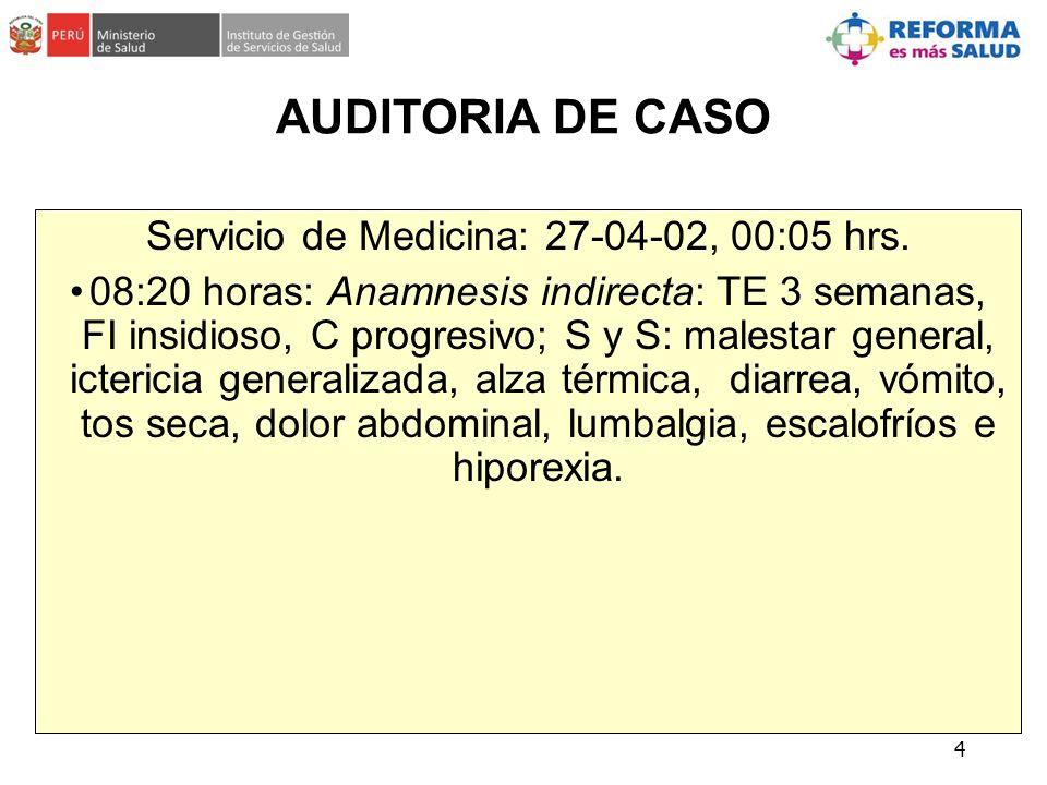 Servicio de Medicina: 27-04-02, 00:05 hrs.
