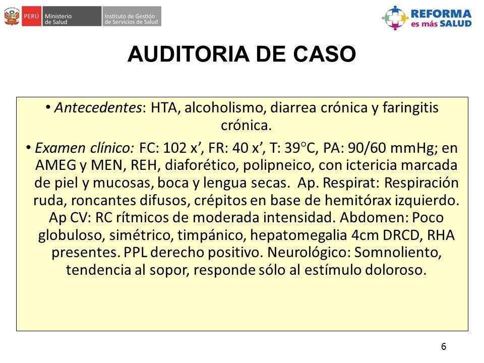 Antecedentes: HTA, alcoholismo, diarrea crónica y faringitis crónica.