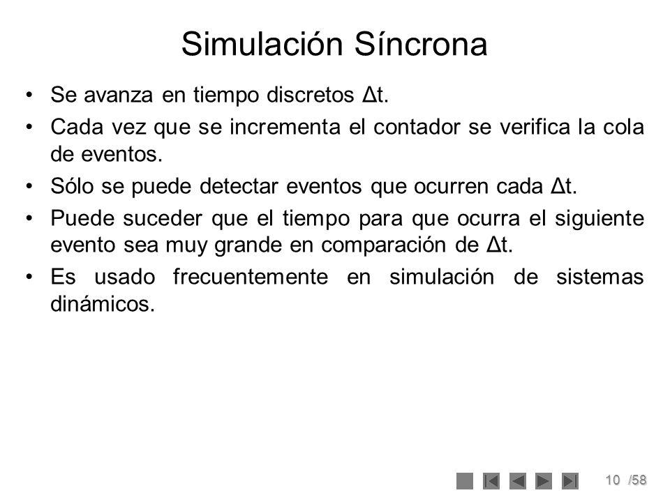 Simulación Síncrona Se avanza en tiempo discretos Δt.