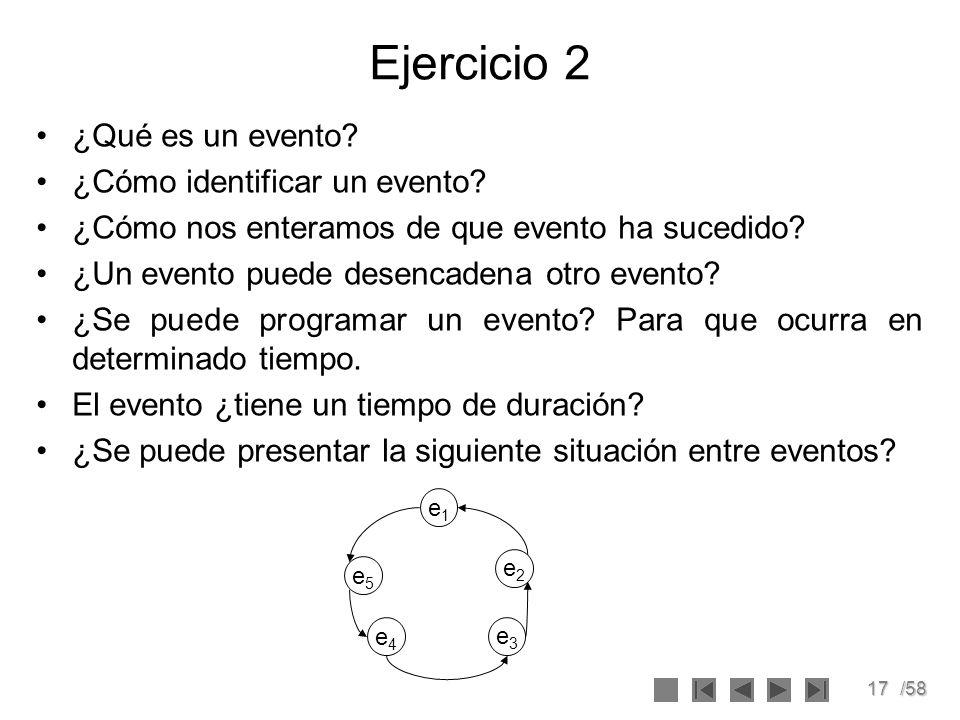 Ejercicio 2 ¿Qué es un evento ¿Cómo identificar un evento