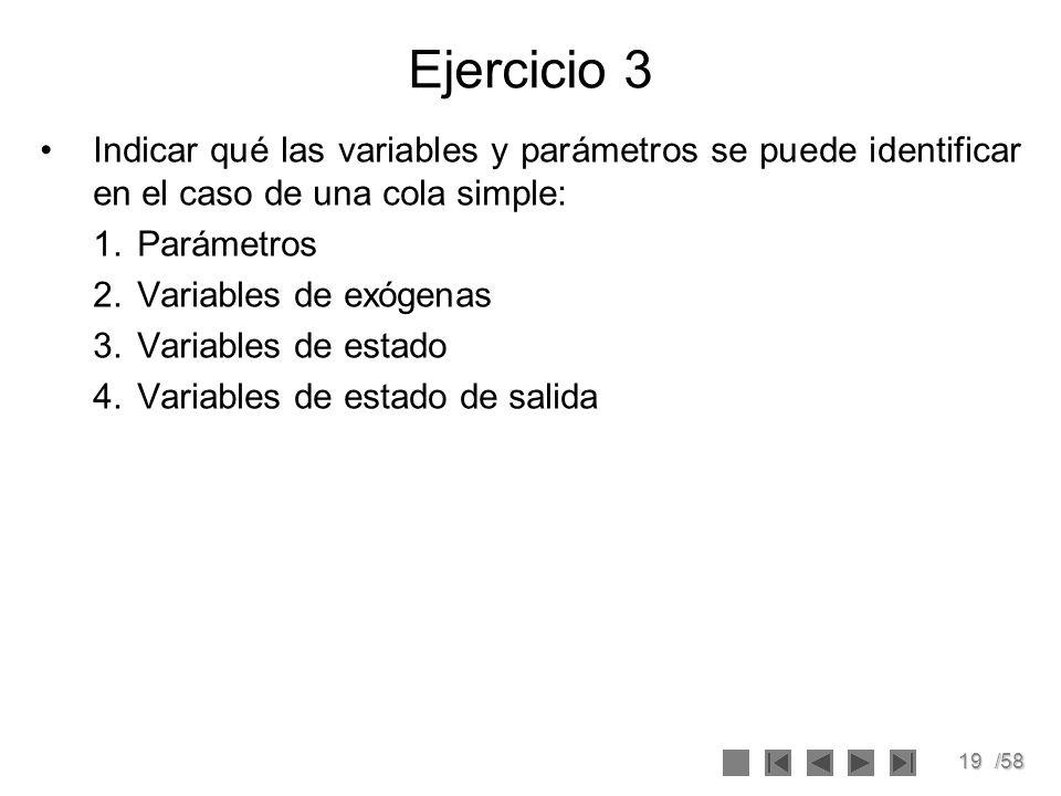 Ejercicio 3Indicar qué las variables y parámetros se puede identificar en el caso de una cola simple: