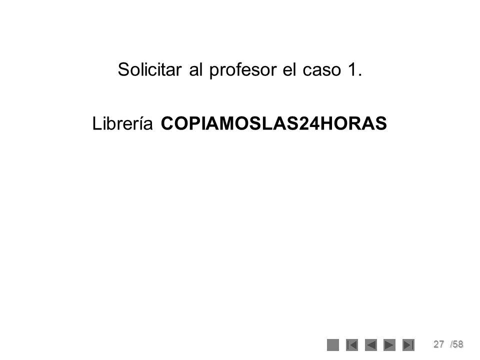 Solicitar al profesor el caso 1. Librería COPIAMOSLAS24HORAS