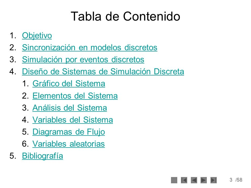 Tabla de Contenido Objetivo Sincronización en modelos discretos