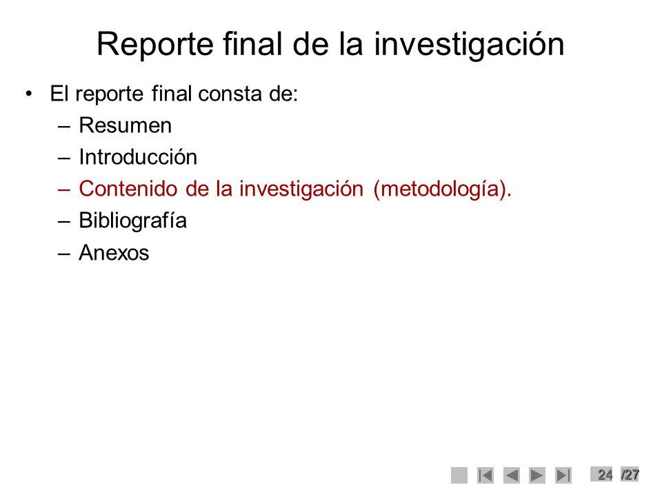 Reporte final de la investigación