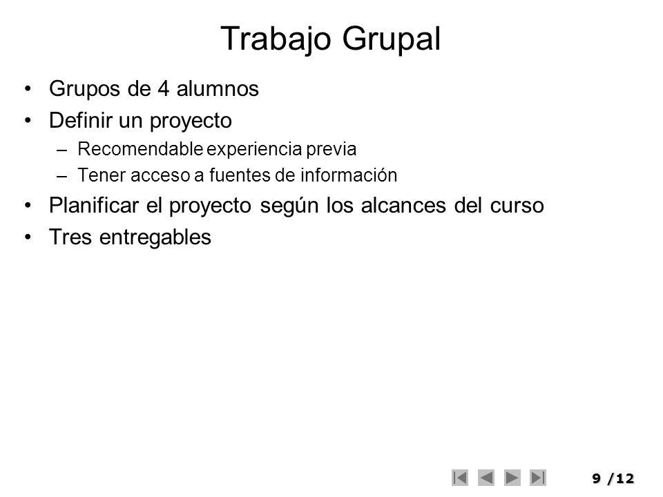 Trabajo Grupal Grupos de 4 alumnos Definir un proyecto